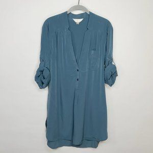Anthropologie ZOA Silky Popover Tab Sleeve Shirt